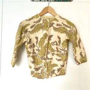 1950s angora floral patterned cropped cardigan